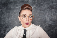 Surprised teacher with eyeglasses Stock Images