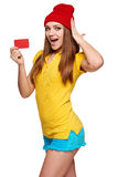 Surprised teen funky girl with credit card Royalty Free Stock Images