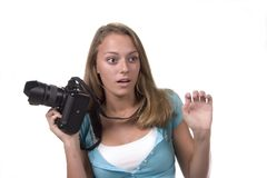 Surprised Teen Photographer. Teen with camera series Royalty Free Stock Images