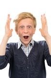 Surprised teenage boy screaming thrilled Stock Images