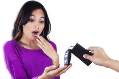 Surprised teenage girl get a car key Royalty Free Stock Image