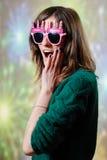 Surprised teenage hippie girl wearing homemade Royalty Free Stock Image
