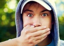 Surprised Teenager closeup royalty free stock image