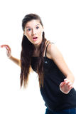 Surprised  teenager girl on isolated white Royalty Free Stock Photo