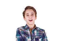 Surprised teenager, isolated on white Stock Photo