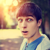 Surprised Teenager outdoor Royalty Free Stock Photo