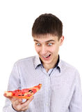 Surprised Teenager with Pizza Stock Photos