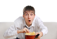 Surprised Teenager with Popcorn Stock Photos