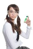 Surprised teenager with test tube Stock Images