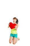 Surprised teenager with Valentines gift Royalty Free Stock Photo