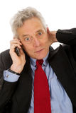 Surprised by the telephone Royalty Free Stock Photos