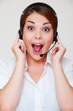 Surprised telephone operator Stock Image