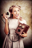 Surprised Telephone Operator With Good Or Bad News Stock Image