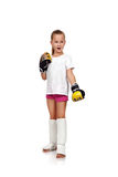 Surprised thai boxing girl Stock Images