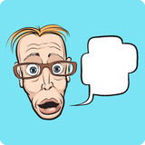 Surprised thin man face with speech bubble Royalty Free Stock Image