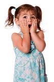 Surprised toddler girl. Cute adorable toddler girl surprised innocent expression with hands on cheeks, isolated royalty free stock images