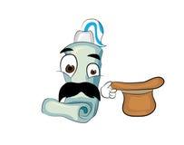 Surprised toothpaste cartoon Stock Image