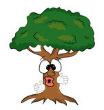Surprised tree cartoon Royalty Free Stock Photography