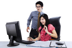 Surprised two business people Royalty Free Stock Photos