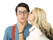 Surprised by Valentine kiss Royalty Free Stock Photography