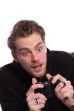 Surprised video gamer Royalty Free Stock Photos