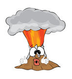 Surprised volcano cartoon Stock Images