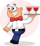 Surprised Waiter Cartoon Royalty Free Stock Photo