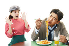 Surprised waitress and drunk man Royalty Free Stock Image