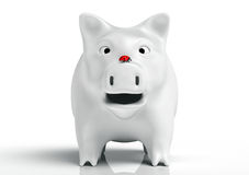 Surprised white piggy bank Stock Photo