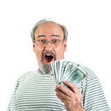 Surprised Winner of Cash Stock Photo