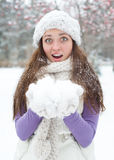 Surprised Winter Woman Royalty Free Stock Photos