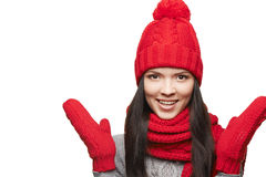Surprised winter woman Royalty Free Stock Image