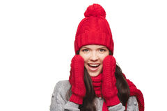 Surprised winter woman Royalty Free Stock Photography
