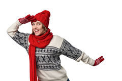 Surprised winter woman looking forward Royalty Free Stock Photo