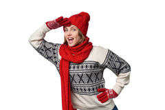 Surprised winter woman looking forward Royalty Free Stock Images