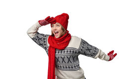 Surprised winter woman looking forward Stock Photography