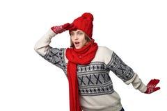 Surprised winter woman looking forward Stock Image