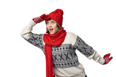 Surprised winter woman looking forward Stock Photos