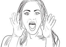 Surprised Woman. A cartoon  drawing of a surprised or amazed woman Royalty Free Stock Image