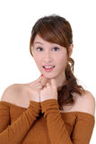 Surprised woman. Of Asian, closeup portrait on white background Royalty Free Stock Photography