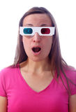 Surprised woman in 3d glasses. Young woman in 3d glasses with surprised expression Stock Photography