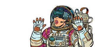 Surprised woman astronaut in virtual reality glasses. Girls 80s. Surprised woman astronaut in virtual reality glasses. Isolate on white background. Pop art retro royalty free illustration