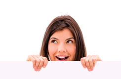 Surprised woman with a banner Royalty Free Stock Image