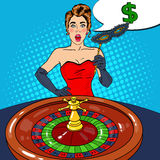 Surprised Woman Behind Roulette Table. Casino Gambling. Pop Art Royalty Free Stock Photos