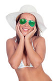 Surprised woman in bikini with sunglasses Stock Image