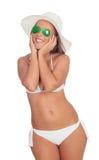 Surprised woman in bikini with sunglasses Royalty Free Stock Photos