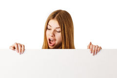 Surprised Woman with Billboard. Stock Images