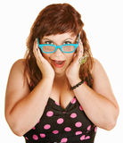 Surprised Woman in Blue Glasses Royalty Free Stock Photography