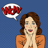 Surprised Woman with Bubble and Expression Wow. In Comics Style. Vector illustration Royalty Free Stock Image