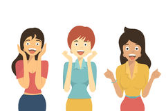 Surprised woman. Character of diverse woman in excited, happy,  shocking, amazement, screaming, winning, joyful, and surprised. Flat design. Isolated on white Royalty Free Stock Images